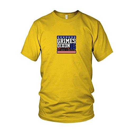 Grimes and Dixon for President - Herren T-Shirt, Größe: XXL, Farbe: gelb (Walking Dead Staffel 5 Box Set)