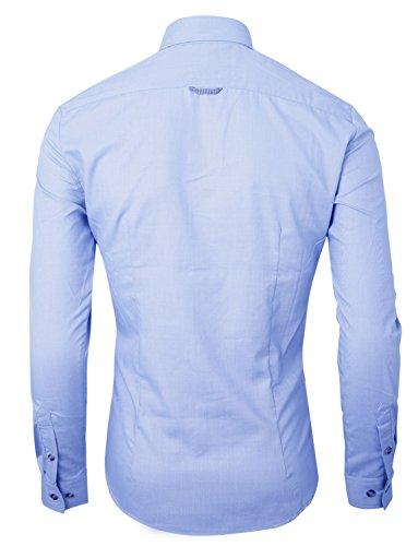 Uomo HRYfashion tempo libero in puro cotone con bottoni a maniche lunghe Blu