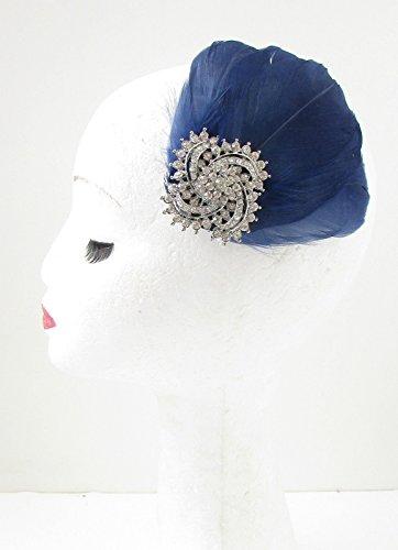 Bibi à plumes Bleu marine/bleu/argenté strass pince à cheveux pour mariage VTG 7 Années AZ * * * * * * * * exclusivement vendu par – Beauté * * * * * * * *