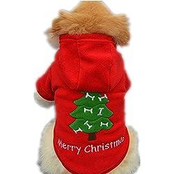 ropa de abrigo para mascotas navidad,RETUROM nueva Navidad para mascotas ropa para perros perrito traje de Santa Claus vestir exteriores gruesa ropa Escudo (M)