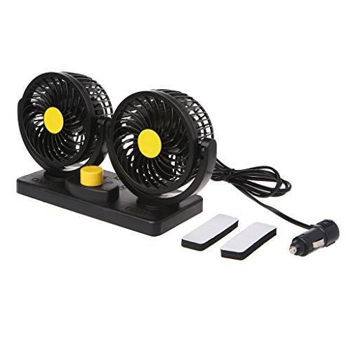Mentin Mentin 360 Rotating Réglage Gratuit Dual Head Car Auto Refroidissement Air Puissant Ventilateur Quiet 2 Speed Rotatif 24V Ventilation Dashboard Voiture électrique Ventilateurs d'été de Refroidissement Air Circulator Low Nois
