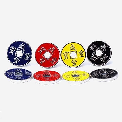 Enjoyer monete magiche cinese-cinese con set di conchiglie espanse trucchi magici 4 monete accessori antichi per oggetti magici