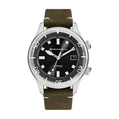 SPINNAKER Men's Bradner 42mm Green Leather Band Automatic Watch SP-5057-02