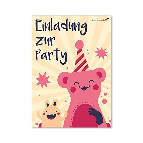 15 Monster Einladungskarten I dv_087 I DIN A6 I Einladung Set Kinder-Geburtstag zum Ausfüllen für Kinder Mädchen pink rosa (1. Geburtstag Monster)