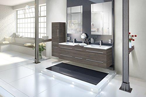 Bad Doppelwaschbecken (SAM® Badmöbel-Set 4-tlg, Barcelona, Trüffeleiche, Softclose Badezimmermöbel, Doppelwaschplatz 150 cm Mineralgussbecken, zwei Spiegel, Hochschrank)