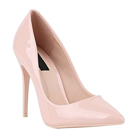 Elegante Damen High Heels Spitze Pumps Lack Metallic Stiletto Samt Glitzer Nieten Abend Business Schuhe 142119 Rosa Lack 39   (High Heels Pumps)