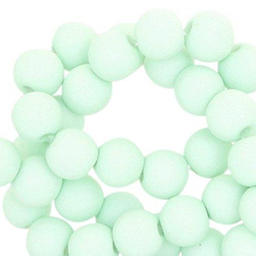 Sadingo Acrylperlen - Kunststoffperlen (matt) - 6 mm - 100 Stück - Acrylperlenset - Farbe wählbar , Farbe:Pastell Türkis Türkis-band-knoten Halskette