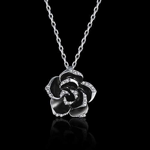 Brillante HOGAR Joyería, pintura ecológica, collar de rosas, accesorios de aleación europea y americana, accesorios de moda (color: platino) Regalo especial (Color : Platinum)