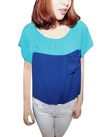 Allegra K Women Scoop Neck Short Sleeve Blouse Summer Color Block Tops