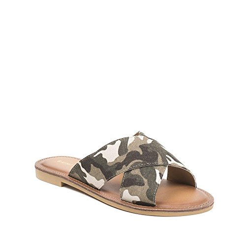 Ideal Shoes ,  Infradito donna militaire