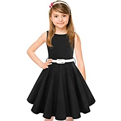 Hbbmagic Vintage Girls Cotton Dresses With Belt 1950's Sleeveless Round Neck Polka Dot Floral Print For Party(girl's 9-10, Black)