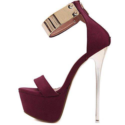Oasap Women's Ankle Strap Platform High Heels Sandals red
