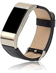 Cyeeson Bracelets de rechange en cuir ajustables pour montre Fitbit Charge 2