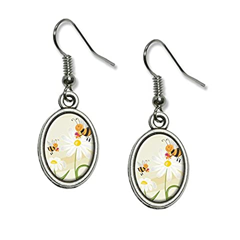 Bumble Bees and Ladybugs on Daisies - Flowers Novelty Dangling Drop Oval Charm Earrings