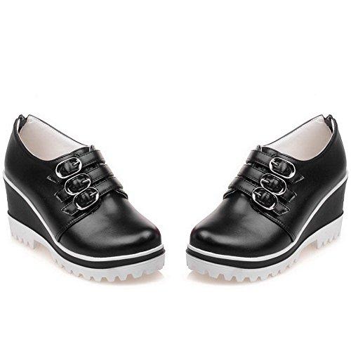 AllhqFashion Femme Pu Cuir à Talon Haut Rond Couleur Unie Zip Chaussures Légeres Noir