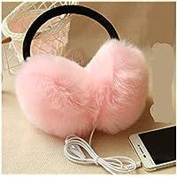 QWhing Gemütlicher Ohrenschützer Plüsch Ohrwärmer Classic Nützliche Musik Ohrenschützer Winter Zubehör Outdoor-Ohrenschützer für Erwachsene (Pink) Ohrenschützer Zubehör