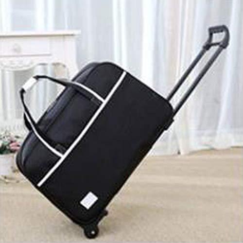 WQING Rädern Reisetasche Trolley Reisetasche mit Rollen Große Kapazität Falten Atmungsaktiv Verschleißfest Freizeit Outdoor,BlackL