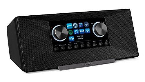 MEDION P85135 7,1 cm (2,8 Zoll TFT-Display) WLAN Internet-Radio, 2x6 W RMS, DLNA-/UPnP, DAB+, FM/UKW, LAN, USB 2.0, Aux, Spotify, grau