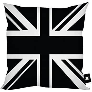 Pure 100% Cotton BLACK AND WHITE Union Jack Cushion Covers, Size 18