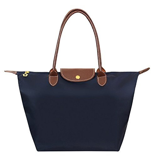 Shopper Tasche Groß, Meersee Wasserdichtes Nylon Shopper Schultertasche Umhängetasche Damen Handtasche Tote Tasche (L, Marineblau) (Tote-shopper-tasche-handtasche)