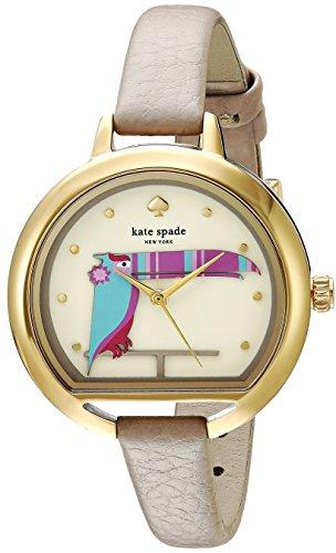 Kate Spade New York Reloj Casual 'Pecera en forma de caso' cuarzo acero de las mujeres y cuero, Color: (modelo: KSW1328) Un tamaño Taupe/oro