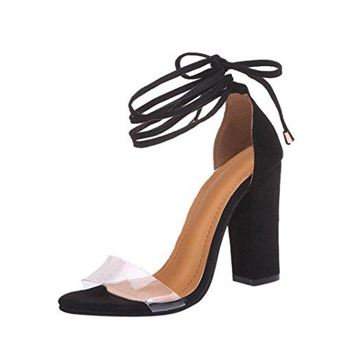 Btruely High Heel Sandaletten Damen Riemchensandaletten Glitzer Sandaletten High Heels Schuhe Elegante Abendschuhe Hochzeit Knöchelriemen Sandalen Damenschuhe Heels Schnalle Sandalen (37, Schwarz)