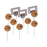 BESTOYARD 24 stücke Cupcake Toppers mit Basketballkorb Form Decor Kuchen Topper Plektren für Sport Party Baby Shower Geburtstagsparty Kuchen Dekoration Lieferungen