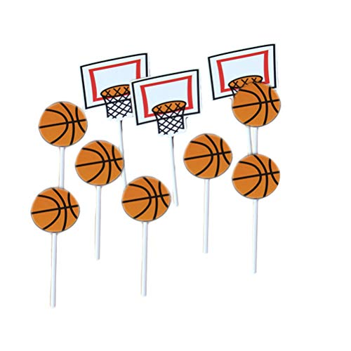 etball Muster Kuchen Topper Basketball Thema Party Cupcake Topper Picks Kinder Geburtstag Familie Party Dekoration Lieferungen (18x Basketball + 6X Basketballkorb) 24 Stücke ()
