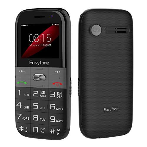 Easyfone Prime A2 2019 Telefono Cellulare per Anziani con Tasti Grandi, Funzione SOS, Base di Ricarica, Nero [Italia]