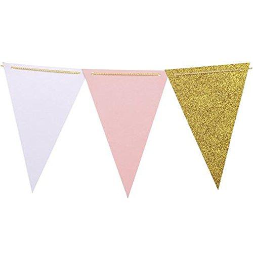 Lumanuby Fanions Bannière Banderole en Coton Décor pour Papier Décor pour Fête de Mariage Anniversaire Trois couleurs