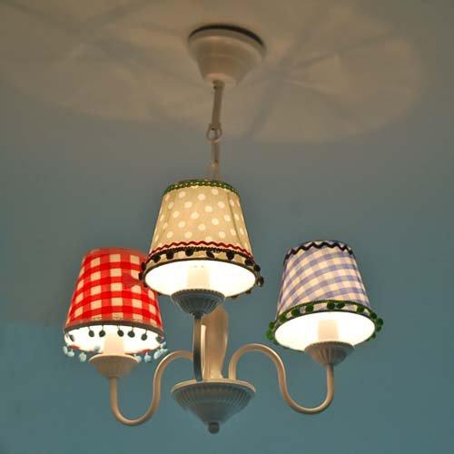 lounge-zone Lüster Kronleuchter Kinder-Kronleuchter  LEA 3 Lampenschirme - 4