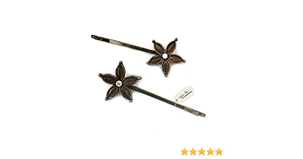 2 GOLD Diamante Crystal Kirby Bobby Slide Hair Grips Clip Wedding PARTY Pin Pins