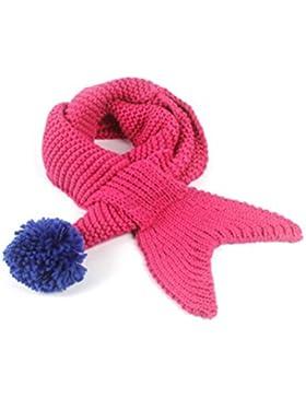 Sciarpa lana bambini OULII Sciarpa calda a forma di sirena invernale per bambini