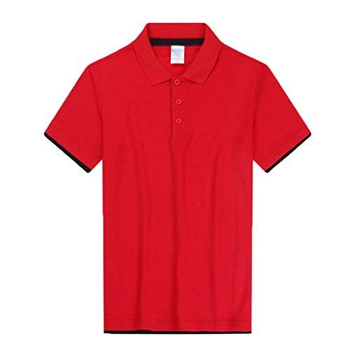 ZKOO Poloshirts Herren Sommer Baumwolle Kurzarm Polohemd T-Shirt Sport Polo Shirt Tops Freizeit Rot