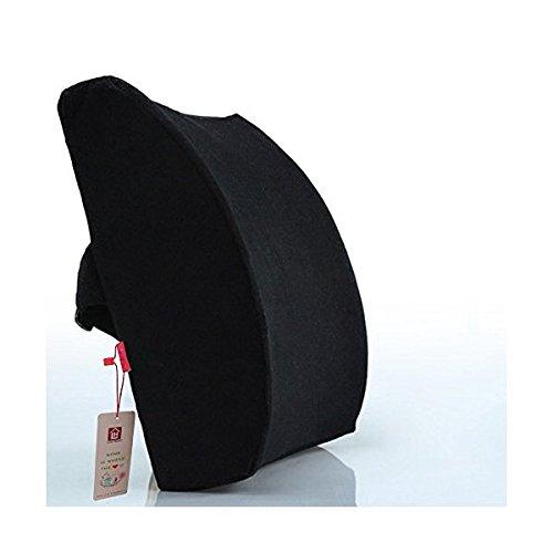 LoveHome Cojin Lumbar Respaldo Lumbar Para Silla Oficina Coche Almohada Ergonomico Apoyo Cojín Con Funda de Terciopelo - Negro