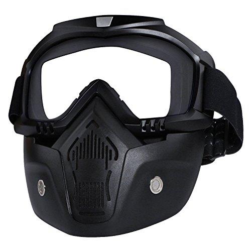 PQZATX Motorradbrille Maske abnehmbar, Harley Style Protect Polster Helm Sonnenbrille Weiss