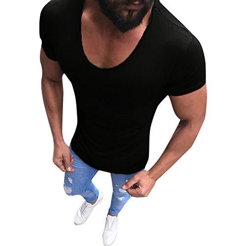 TIFIY T-Shirt Herren, Kurzarm V-Ausschnitt Slim Muscle Fit Shirts Solide Tee Bluse Laufen Outdoor Top Beach Party Club Oberteil (Aces Halloween Running)