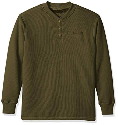 Smith's Workwear Herren Sherpa-Bonded Thermal Knit Pullover Henley Shirt, olivgrün, XX-Large -