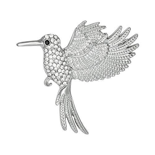 Eternal Collection süße Nektar Kristall Kolibri Silber Ton Brosche Silver 4.6