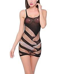 HEXUQIANG Mujer Lencería Crotchless Media del cuerpo Conjoined Abra la entrepierna Transparente Malla Vestido apretado falda , black