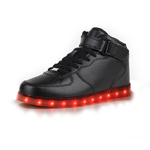 Blinkende LED Damen Herren Sneakers Low Multi Farbwechsel Leuchtend Schwarz High