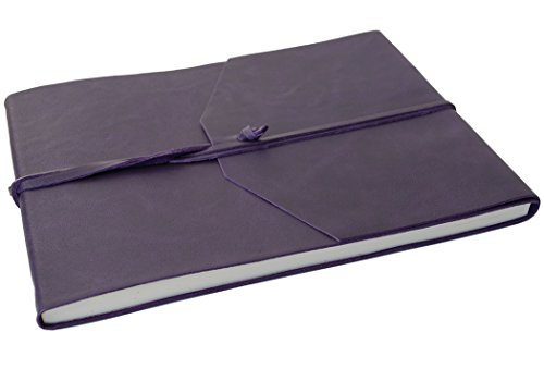 Aubergine Italienisch (Capri Gästebuch handgefertigt mit Italienisches Ledereinband Aubergine Extra Large, Gästebuch Seiten (22cm x 28cm x 2cm))