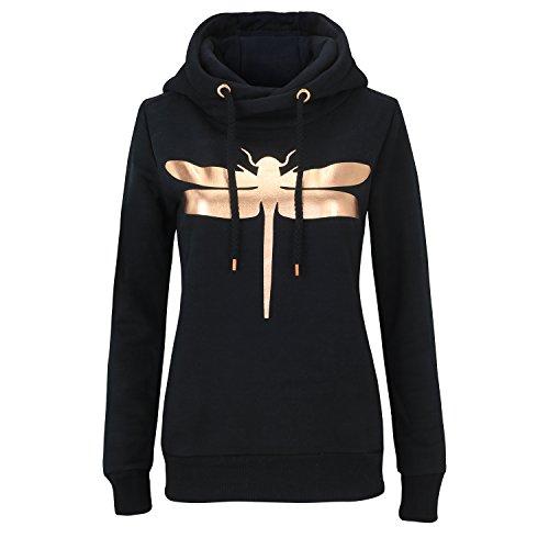 ROCK ANGEL Damen Sweatshirt mit Kapuze und Motiv Freizeit Hoodie CL 1711A (S, Black) (Hoodie Angeln)