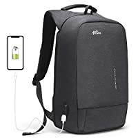 Laptop Antitheft Backpack with External USB Charging Port Fresion Water-resistant Business Travel College Rucksack Notebook Macbook Backpacks 15.6 Inch for Men Teenager