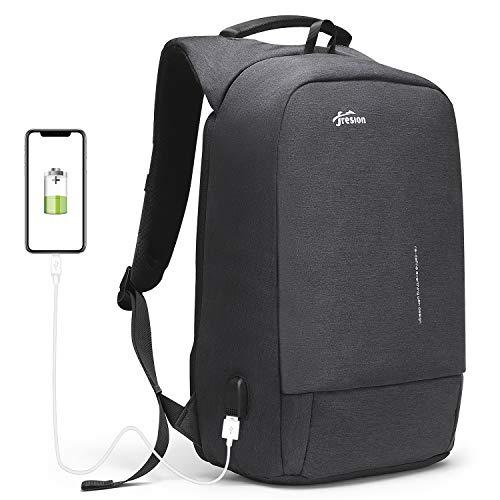 Fresion Anti-diebstahl Laptop Rucksack mit USB Ladeanschluss Wasserdicht Business Taschen Rucksäcke für Herren Damen Arbeit Reisen Schule bis zu 15,6 Zoll Notebook/Computer Dunkelgrau