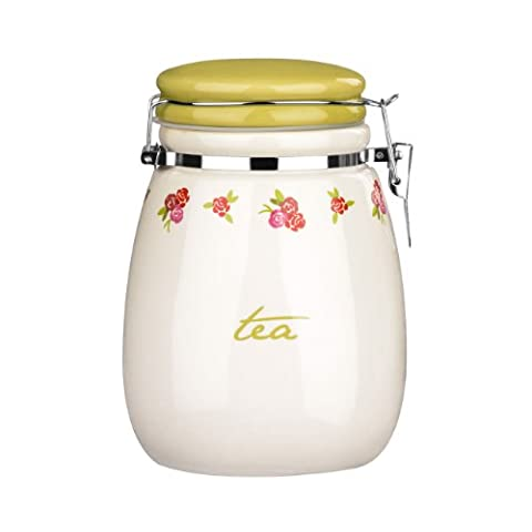 Ceramic Tea Jar With Latest Rose Cottage Design & Clip Top Wording Detail