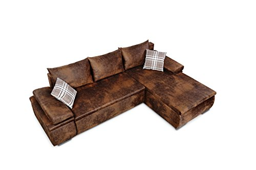 Mein Sofa CLVint Vintage Eckgarnitur Cali mit Schlaffunktion und Bettkasten, circa 274 x 85 x 180 cm - Sitzhöhe circa 42 cm, Kunstleder, Recamiere rechts oder links verwendbar - 3