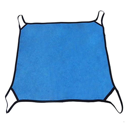 (YooGer Weiche Fleece-Haustier-Schlafenbetten, Katze-hängende Hängematte-Weiches Vlies Hamster-Kaninchen-Käfig-Bett-Frettchen-Matte Sal, Blau)