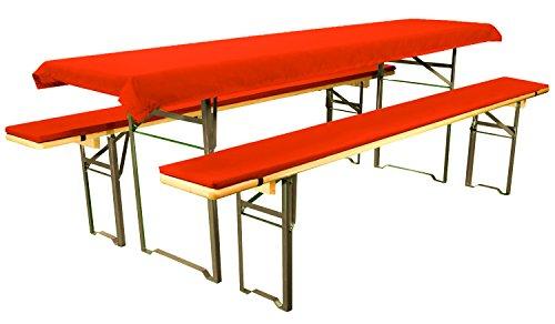 Brandsseller Bierbankauflagen-Set gepolstert 4tlg. Zwei Tischdecken 1x Rot-Uni und 1x...