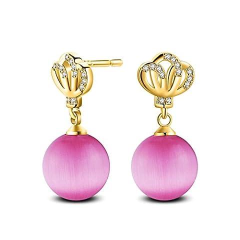 Earrings, Bestow Women Fashion 1 Pair Crown Rhinestone Cat's Eye Stone Pearl Stud Earrings (Pink)